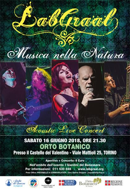 Sabato 16 Giugno 2018, ore 21.30 - LABGRAAL acoustic live all'Orto Botanico presso il Castello del Valentino di Torino