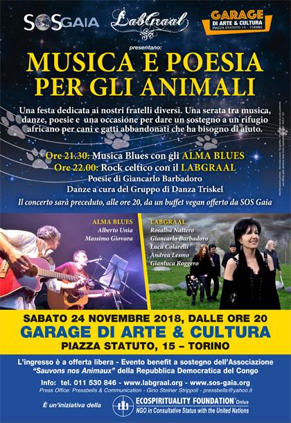 Sabato 24 novembre 2018, dalle ore 20 - Musica e Poesia per gli Animali - Evento benefit a sostegno dell'Associazione Sauvons nos Animaux della Repubblica Democratica del Congo